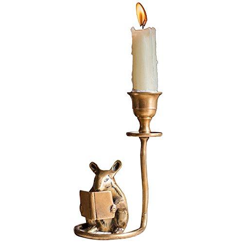 KMYX Messing Handmade Hamster Candlestick Study Desktop Dekoration Dekoration Kandelaber Retro Kerze Laterne Nostalgie Candle Stick Halter Kreatives Geschenk - Kerze-halter-wand-dekoration