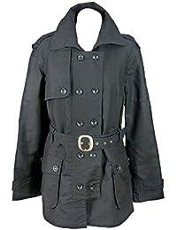 Womens Black military trench coat raincoat mac-12-14