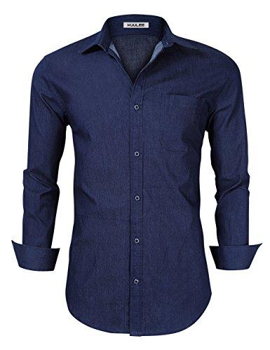 Kuulee Herren Hemd Slim Fit Langarmhemd - Baumwolle/Denim (Jeanshemd) - Für Anzug, Business, Freizeit Dunkelblau S