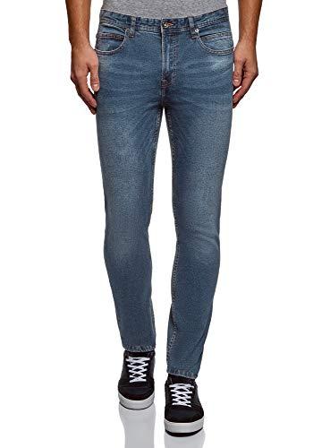 oodji Ultra Uomo Jeans Basic Slim-Fit, Blu, 36W / 34L (IT52 = EU36 = XL)