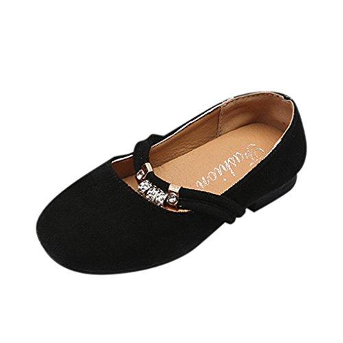Byste scarpe da bambina scarpe da principessa fondo morbido antiscivolo ballerine scarpe singole ragazze mary jane scarpe basse bridal partito formale (31 eu, nero)