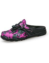 Onfly Pompe Mules Chaussons Des sandales Dames Cuir véritable Confortable Respirant Fleurs Creux Bowknot Fond doux Chaussures plates Cool Pantoufles Eu Taille 35-40