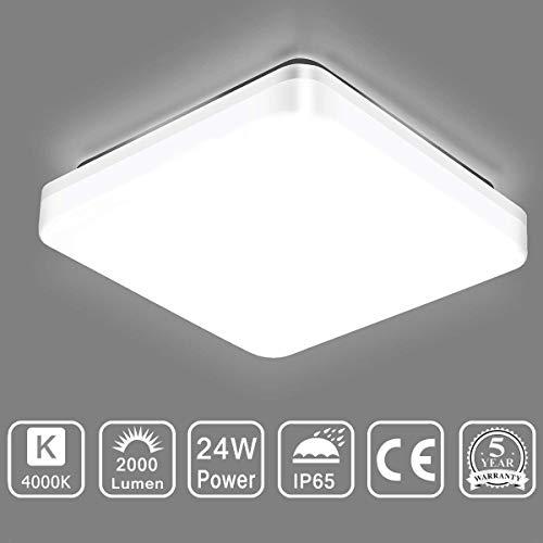 SUNGNY Lighting® Deckenleuchte LED Schlafzimmer Deckenlampe IP65 Bad Lampe 24W 2000LM 4000K Neutralweiß Moderne 220V-240V für Wohnzimmer Badezimmer Balkon Flur Küche (Platz, 24W)