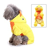 smalllee_lucky_store Cute Duck Raincoat for Small Dogs with Hoood Leash D-ring Puppy Botton Down Rain Jacket Full Boby 4 leg Jumpsuit Lightweight Waterproof Clothes,Yellow M