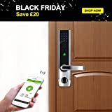 Keyless Bluetooth Locks Biometric Fingerprint Door Lock Keypad Code Smart Electronic Home Entry + 5pcs RFID Cards by ZKTeco,Left Handed