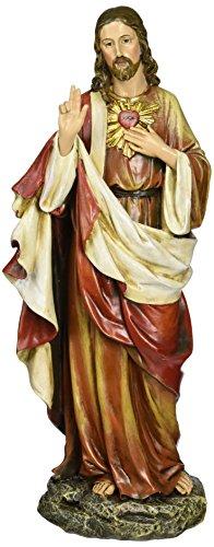 Renaissance Joseph Studio por Roman 10.25Pulgadas Altura del Sagrado Corazón de Jesús Figura, Fabricado en Resina de Piedra y Pintado a Mano