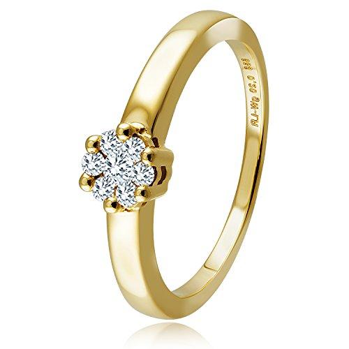 Diamond Line Diamant-Ring Damen 585 Gold mit 7 Diamanten Lupenrein