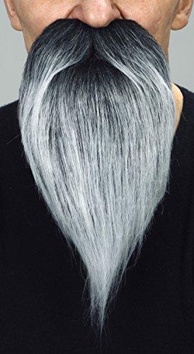 Mustaches Selbstklebende Neuheit Philosopher Fälscher Bart Falsch Gesichtsbehaarung Kostümzubehör für Erwachsene Salz und Pfeffer Farbe (Falschen Bart Und Perücke)
