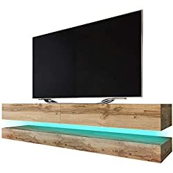 Aviator - Meuble TV Suspendu / Table Basse TV / Banc TV de Salon (140 cm, Aspect Bois de Chêne de Votan Mat avec l'éclairage LED bleue)