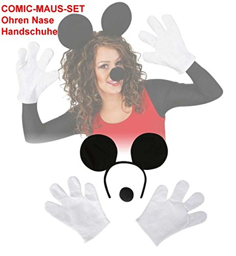 Haarreif Mausohren + Handschuhe + Nase 3tlg Set Comic Maus (Nase Maus Minnie)