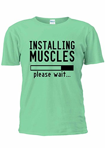 Please Wait installando muscoli Gym T-Shirt Unisex uomo donna Ladies Top