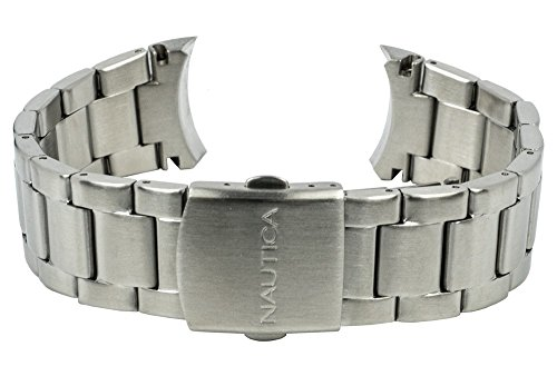 Nautica Ersatzband Uhrenarmband Edelstahl Band silbern A14631G / NST 07 / Ø 44mm / 28494