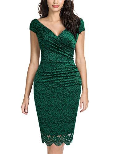 Miusol pizzo floreale a pieghe matita vestito da festa donna verde small