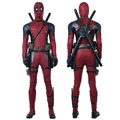 Men Frauen Kostüm X - QWEASZER X-Men Deadpool Kostüm Wade Wilson Kostüm Superheld Rot und Schwarz Leder Overalls Cosplay Kostüm Erwachsene Halloween Film Kostüm Requisiten,Deadpool-L