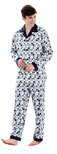 Herren Klassische Schlaf Und Entspannungsverschleiss Langes Hulsen Knopf Hemd Und Hosen Baumwoll Pyjamas Gray-1