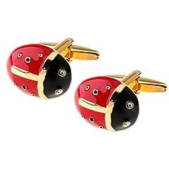Idea Regalo - The Cufflink Shop Uomo di Disegno della novità Rosso e Oro Coccinella Animali Gemelli con Confezione Regalo