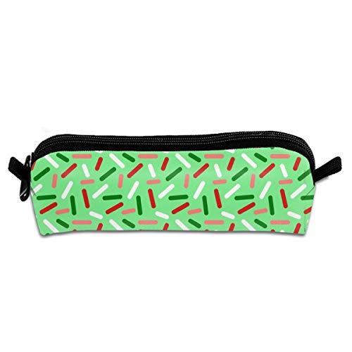 Christmas Donut Sprinkle Pencil Bag Pencil Case Pen Zipper Bag Pouch Holder Makeup Brush Bag for School Work Office 8.26 X 2.16 X 1.96 inch