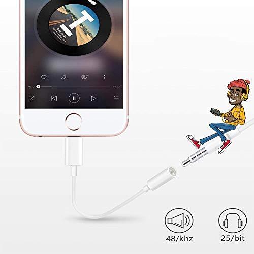 Kopfhörer-Aux-Audio-Jack-Adapter auf 3.5 mm für iPhone 7/7 Plus 8/8 Plus Kopfhörer-Kabelsteuerung Splitter-Extender-Adapter Kompatibles Audio + Charg + Control (Unterstützung für iOS 10.3 oder höher) - 3