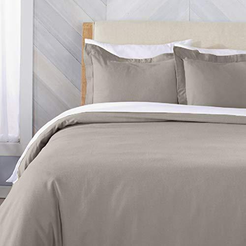 Great Bay Home Flanell-Bettwäsche, extra weich, mit Knopfverschluss. 3-teiliges Set mit Kissenbezügen, aus 100% türkischer Baumwolle Nordic Collection Full/Queen Taupe -
