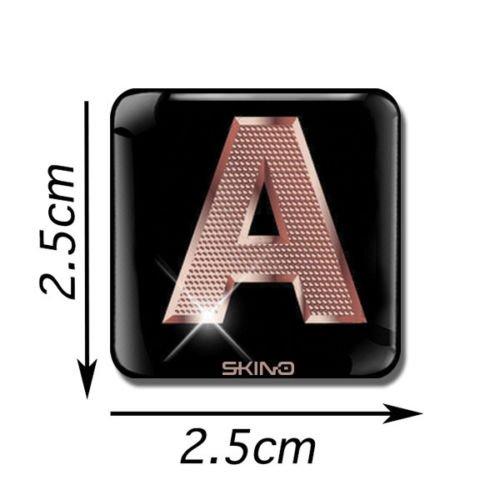 Skino 3D Gel Buchstaben Aufkleber ABC A-Z SELBSTKLEBEND Sticker Alphabet Etiketten Schriftzeichen Rose Gold Auto Handy HÜLLE (A), L 27 (3d Buchstaben-aufkleber)