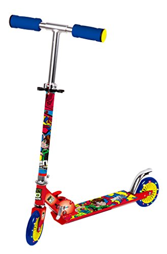 Toy House Ben10 2Wheeled Metal Folding Scooter With Light Up Wheels &Height Adjustable Handle,Red