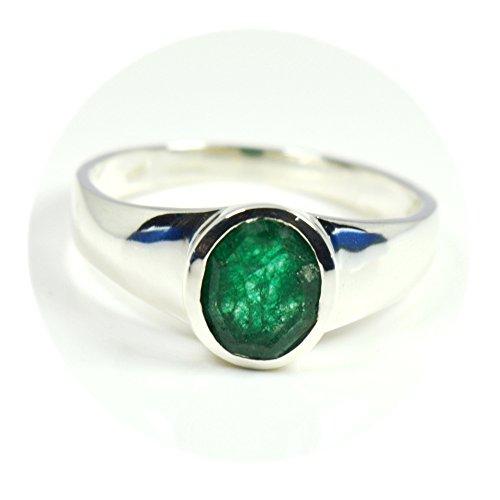 Gemsyogi Unisex Herren Damen - 925 Sterlingsilber Sterling-Silber 925 Oval Green Smaragd