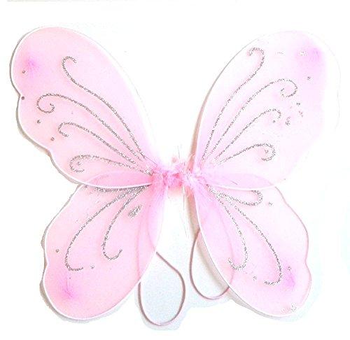 (3-7 Jahre - Kostümzubehör - Verkleidung - Karneval - Halloween - Theater - Schmetterlingsflügel - Fee - Rosa - Mädchen)