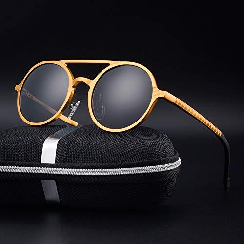 Honneury Herren Vintage Runde Mode Sonnenbrillen, polarisierte Al-Mg-Gläser, Sonnenbrille Fahren (Farbe : Gold)