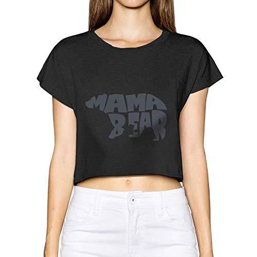 Bären Custom Schwarz T-shirt (Frauen Sexy Revealed T-Shirt Mama Bär Kurzarm Casual Sommer Tees Bluse Tops Nabel (X-Large, Schwarz))