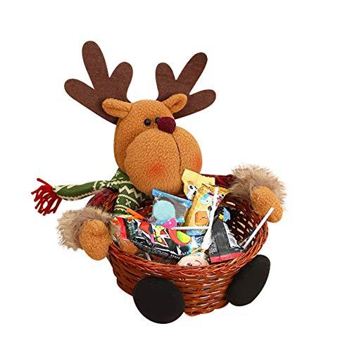 Nordira Christmas Candy Basket Aufbewahrungsbox Ornament Weihnachtsmann Schneemann Elch Tabletop Decor - Elch **