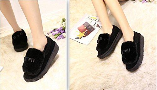 ZZHH Mme bottes de neige chaussures plates ainsi en peluche Black