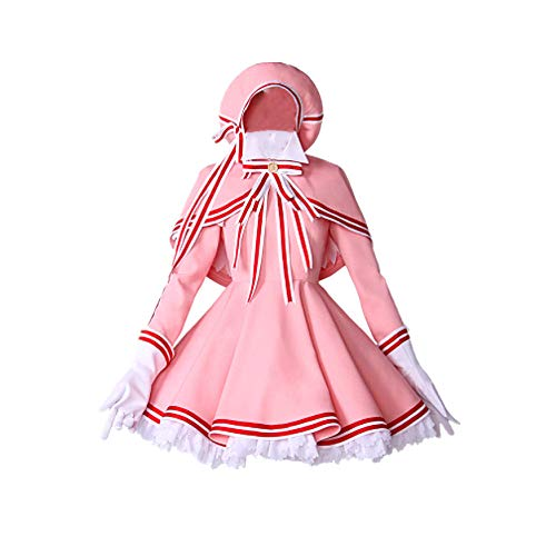 charous Anime Karte Captor Kinomoto Sakura Cosplay Halloween Kost¨¹m Rosa Schlacht Kleid Uniform Kleid f¨¹r Frauen vollen Satz Rosa (Kinomoto Sakura Kostüm)