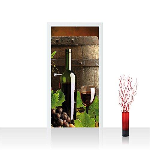 Türtapete selbstklebend 91x211 cm PREMIUM PLUS Tür Fototapete Türposter Türpanel Foto Tapete Bild - Wein Fass Trauben - no. 287 (Bilder Und Wein Trauben)