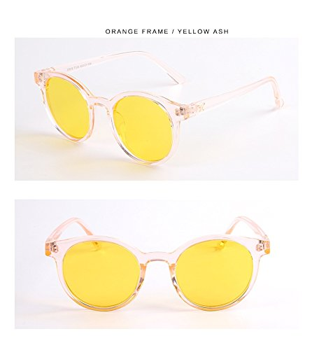 Yiph-Sunglass Sonnenbrillen Mode Neues Kind Sonnenbrille Mode Transparent Runde Rahmen Cat Eye Polarisierte Sonnenbrille Jungen Mädchen Kinder Baby Brille UV400 Spiegel (Color : Yellow)