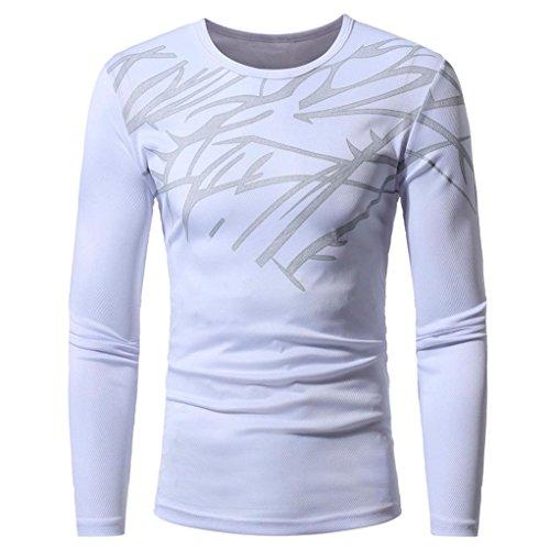 ❤️Tops Blouse Homme T-shirt, Amlaiworld Hommes Automne Tops Blouse d'impression de mode T-shirt à manches longues (M, Blanc)