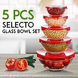 #9: King International 5 PCS Glass Storage Bowl Set - Easy Click color Lid