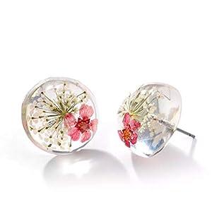 Handmade echte Blüten Ohrstecker Resin-Cabochon 18mm Edelstahl Ohrringe handgemacht flowers blüten Dill weiß rot Schmuckphantasien