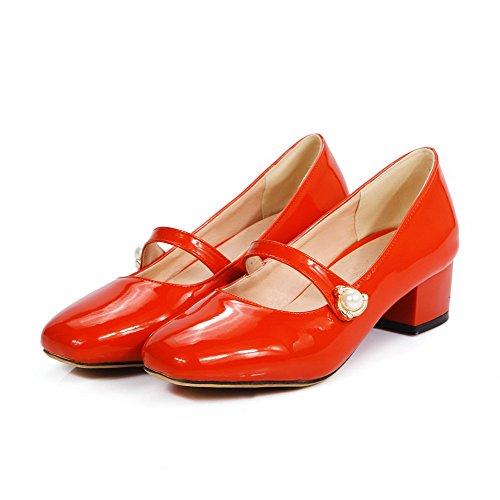 VogueZone009 Damen Ziehen Auf Pu LederNiedriger Absatz Eingelegt Pumps Schuhe Orangerot