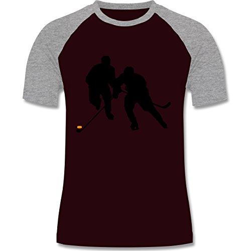 Eishockey - Eishockeyspieler - zweifarbiges Baseballshirt für Männer Burgundrot/Grau meliert