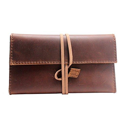 Boshiho Roll Up Tabaktasche mit 100% Echtem Rindsleder Tip Tip Papierhalter Slot Soft und Portable Perfektes Geschenk für Männer und Frauen