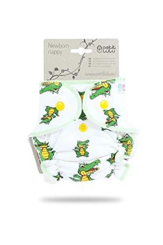 Petit lulu Höschenwindel für Neugeborene (2-6kg) Druckknöpfe (Krokodil)