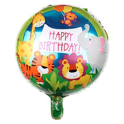 DIWULI, Geburtstags Luftballon Happy Birthday, Folienluftballon, bunter Folien-Ballon mit Tieren für Geburtstag, Mädchen Junge Kindergeburtstag Party, Dekoration