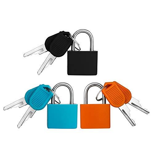 Mini candado de 3 piezas con juego de llaves, candado de equipaje colorido Candado de cerradura pequeña...