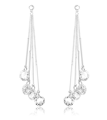 Kristland - elegante orecchini da donna lusso con swarovski cristallo in argento perno| orecchini pendenti catena lunga|placcato in oro bianco|natale|matrimoni|gioielli di moda femminile| natale/fest