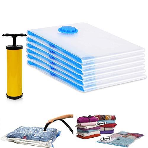 UMYMAYDO1 Vakuumbeutel 6er Set Vakuum Aufbewahrungsbeutel mit Pumpe, 2 x Jumbo, 2 x Large, 2 x Medium, 80% platzsparende Mehrwegbeutel für Kleidung, Bettwäsche, Bettdecken, und Reisen -