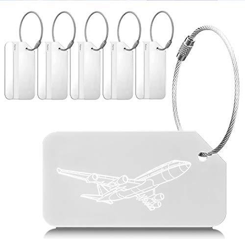 EtichettePerValigie Viaggio Luggage ID Tag Per Valigia Bagaglio Zaini Borsa 6 Pezzi Argento