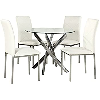 YAKOE Glass Round Dining Table Set And 4 Chairs Modern Chrome Legs Faux Leather