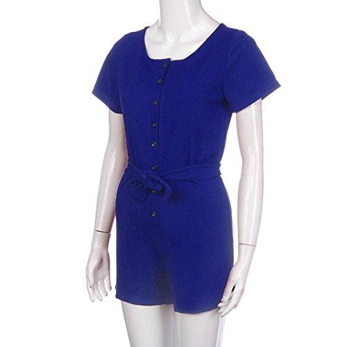 Yogogo Button Bandage Overall Kurzarm T-Shirts für Frauen Damen Blau