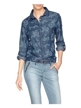 H.I.S Jeans Damen Regular Fit Bluse Blouse HIS-141-04-003, Gr. 36 (Herstellergröße: S), Blau (medium soft wash)