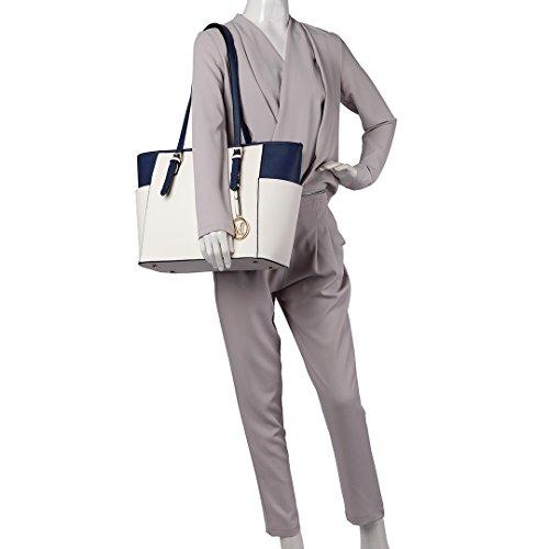 Miss Lulu Frauen Faux Leder verstellbare Griff Schulter Einkaufstasche Beige und Marineblau